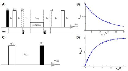 Figure 4: (A) NMR experiment used to probe LLS. (B) LLS relaxation profile obtained for free oxadiazole dissolved in methanol at B0 = 11.75 T, spins (K, R). (C) NMR inversion -recovery experiment. (D) Inversion-recovery curve detected on spin R in the free oxadiazole derivative.