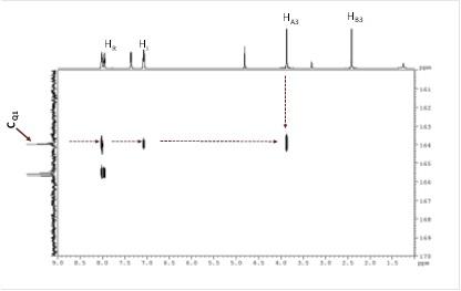Figura 2G. Spectrul 2D HMBC-RMN al oxodiazolului (martor)